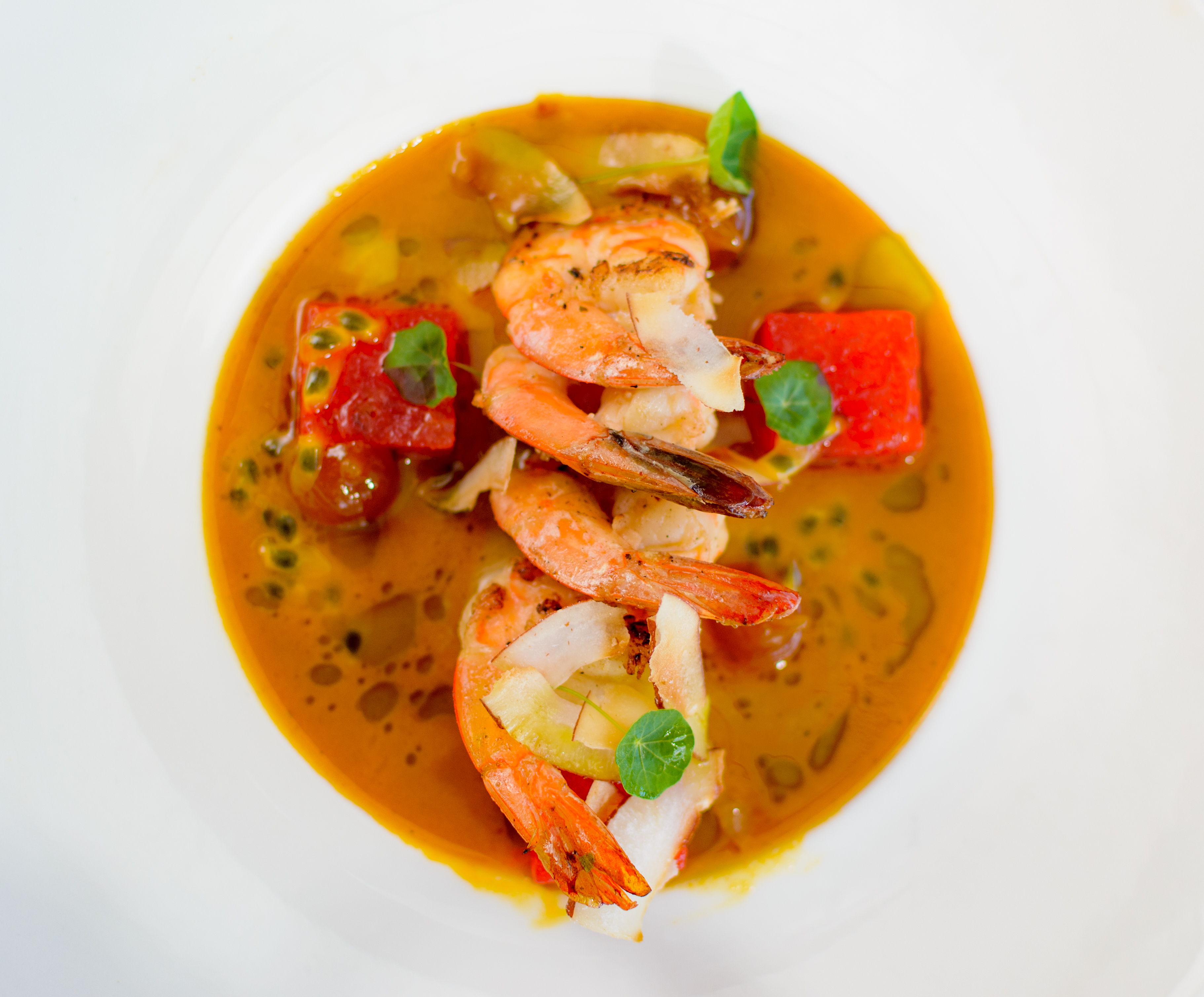Sautéed Shrimp with Curried Passion Fruit Broth and Compressed Watermelon